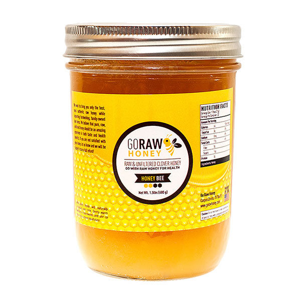 go raw honey - honey bee jar honey