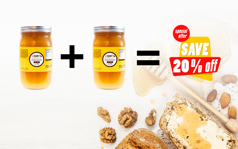 raw honey flash sale - buy 1 get 20% off 2nd jar
